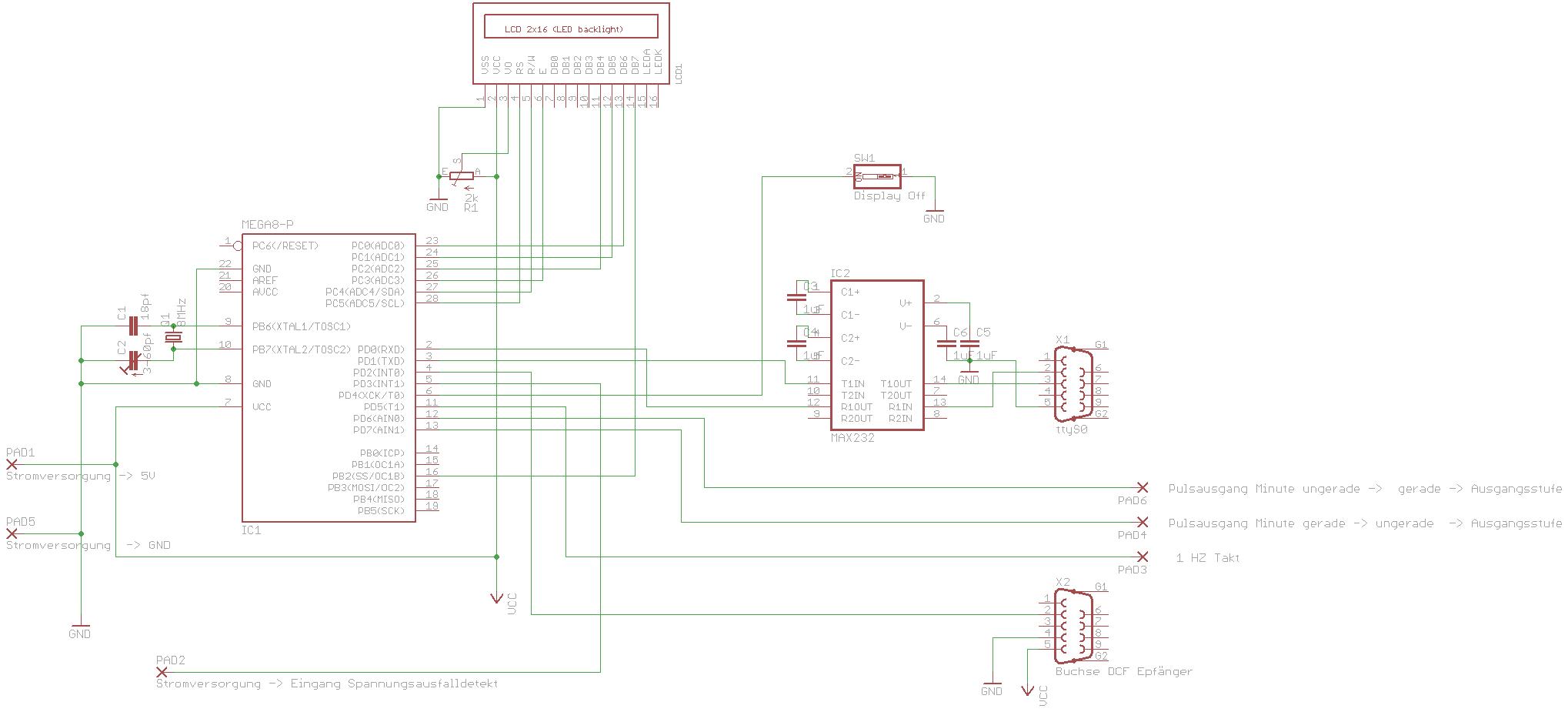 Selbstbauprojekt Mutteruhr Mit Dcf77 Funkuhr Nachfhrung Max232 Pin Diagram Controller Lcd Status Anzeigehier Grossbild